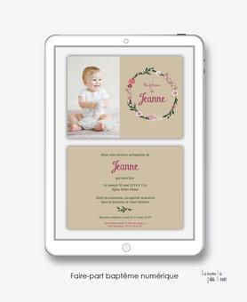 faire part bapteme fille numérique-Faire-part baptême digital--électronique-fichier Pdf-couronne de fleurs-à imprimer soi même