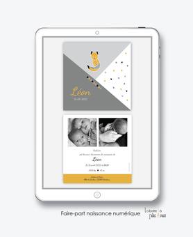 faire-part naissance garçon-numérique-faire part électronique-faire part numérique-imprimable-pdf numérique-faire part connecté-renard-origami-2 photos-faire part à imprimer-faire-part à envoyer par sms-mms-par mail-réseaux sociaux-whatsapp-facebook