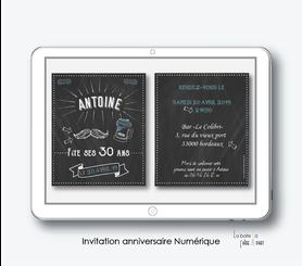 Invitation anniversaire homme numérique-Invitation électronique-Invitation numérique-imprimable-pdf numérique-Invitation connecté-Invitation anniversaire à envoyer par mms-par mail-réseaux sociaux-whatsapp-facebook-Ardoise moustache-chope de biere