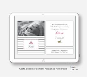carte de remerciements naissance fille numérique-digital-pdf-bottes de marin-électronique-pdf-à imprimer soi-même-à envoyer par mail, mms et réseau sociaux-rayure rose et blanche