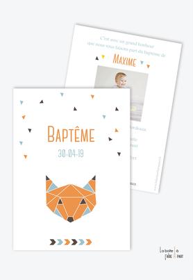 faire part bapteme garçon origami renard-couleur orange bleu marron -animal-animaux
