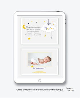 faire part naissance garçon numérique-faire part garçon électronique-fichier Pdf-nuage blanc-lune-étoiles à imprimer soi mêmeA envoyer via les réseaux sociaux whatsapp-messenger-facebook-mms et mail