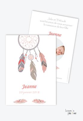 faire part naissance fille attrape rêve rose avec photo-plumes-