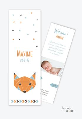 faire part naissance garçon origami renard orange en format marque page