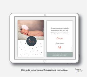carte de remerciements naissance fille numérique-digital-electronique- petite robe-noeud-oiseaux-électronique-carte de remerciements à envoyer par mail, mms et réseau sociaux