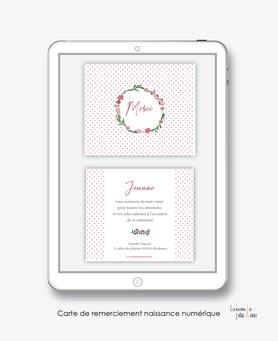 Carte de remerciements naissance fille numérique-carte de remerciements fille électroniquedigital -fichier Pdf- couronne fleurie -à imprimer soi même, carte de remerciement à envoyer par mail, mms et réseau sociaux
