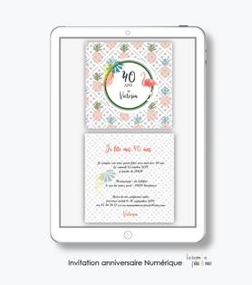 invitation anniversaire femme numérique /électronique -fichier PDF-ananas et flamant rose