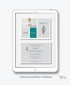 faire part bapteme garçon numérique-faire part bapteme garçon digital-électronique-fichier Pdf-cactus gris-à imprimer soi même