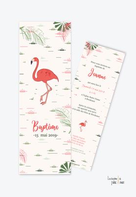 faire part bapteme fille flamant rose tropical-format marque page