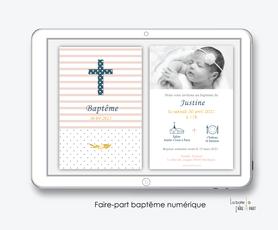 faire part baptême fille numérique-faire part baptême électronique -pdf imprimable-pdf numérique-faire part connecté-croix et rayures-à imprimer soi-même-faire part baptême à envoyer par mail