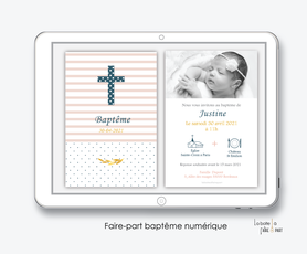 faire part baptême fille numérique-faire part baptême digital-pdf imprimable-pdf numérique-faire part connecté-croix et rayures-à imprimer soi-même-faire part baptême à envoyer par mail