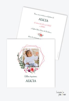 faire-part-baptême-fille-bouquet-printanier-eucalyptus-fleurs-pivoine-et-rose-polaroid-couronne-de-fleurs-baptême-religieux-eglise-format-carré