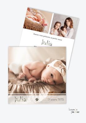 faire part naissance fille douce innocence- format carré- photos-3 photo-etoile-kaki-chic-elegant