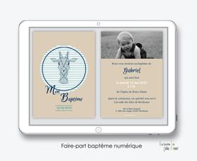 faire part baptême garçon numérique-faire part baptême digital-pdf imprimable-pdf numérique-faire part connecté-girafe origami-à imprimer soi-même-faire part baptême à envoyer par mail
