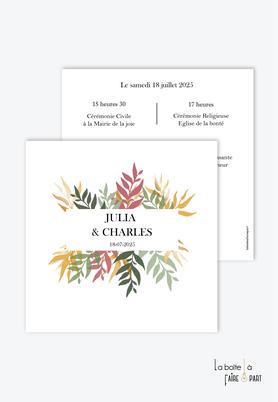 Faire-part mariage-format carré- feuillage d'automne-végétal-