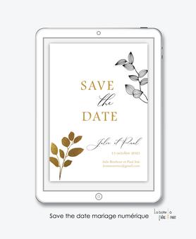 Save the date mariage numérique-Save the date mariage digital-Save the date numérique-pdf numérique-Save the date mariage electronique -Save the date à envoyer par mms-par mail-réseaux sociaux-whatsapp-facebook-messenger-tige vegetal