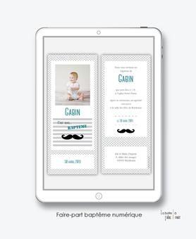 faire part bapteme garçon numérique-électronique-fichier Pdf-moustache-à imprimer soi même