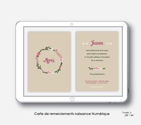 Carte de remerciements naissance fille numérique-carte de remerciements fille électronique-fichier Pdf- couronne de fleurs-marguerite-pivoine-à imprimer soi même-à envoyer par mail -à envoyer par sms