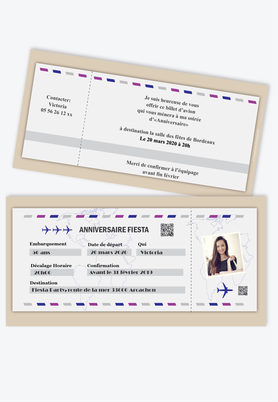 invitation anniversaire femme billet d'avion-party-beige-vol-fiesta