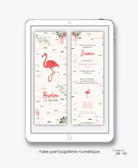 faire part bapteme fille numérique-électronique-fichier Pdf-flamant rose tropical-à imprimer soi même