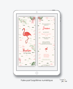 faire part bapteme fille numérique-Faire-part baptême digital-électronique-fichier Pdf-flamant rose tropical-à imprimer soi même