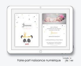 faire-part naissance fille numérique-faire-part naissance fille digital-fichier pdf -panda plume dorée-noeud papillon-à imprimer-à envoyer par mail -à envoyer par mms-sms-réseaux sociaux-whatsapp-messenger-via smartphone