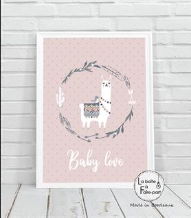 Affiche fille lama couronne-lama- couronne -cactus-fléches-oiseau-motif à pois-déco chambre-affiche déco-poster- chambre de bébé-poster de chambre-déco chambre de bébé-affiche de naissance-affiche cadeau-cadeau de naissance- affiche naissance