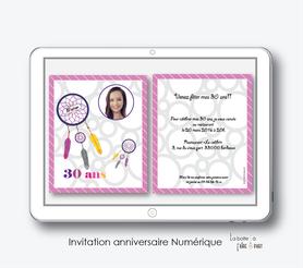 invitation anniversaire femme numérique-électronique- 20ans-30ans-40ans-50ans-60ans-à imprimer soi-même--faire-part à envoyer par sms-mms-par mail-réseaux sociaux-whatsapp-facebook-attrape reves coloré avec photo