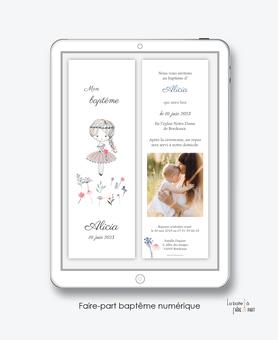 faire-part baptême fille numérique-faire-part baptême digital-électronique-pdf-à imprimer-petite fille-bouquet de fleurs-fleurs des champs-religieux-format marque page-reseaux sociaux-mms-whatsapp-Messenger