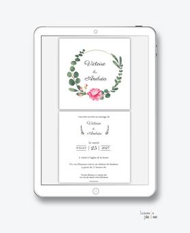 faire-part-mariage-numérique-faire-part-mariage-digital-faire-part-numérique-pdf-numérique-faire-part-mariage-electronique-faire-part-à-envoyer-par-mms-par-mail-réseaux-sociaux-whatsapp-facebook-messenger-fleurs-pivoine-couronne-eucalyptus-format carré