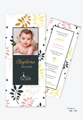 faire part baptême fille tendance et pas cher-format marque page-feuilles-feuillage-printemps-eglise-croix-baptême religieux