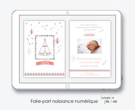faire-part naissance fille numérique-faire-part naissance fille électronique-fichier pdf - tipi indien -à imprimer soi même-à envoyer par mail -à envoyer par sms
