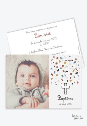 faire part baptême garçon-format  rectangle -motifs terrazzo-croix -eglise-bapteme religieux