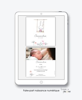 faire-part naissance numérique-faire part électronique-faire part numérique-imprimable-pdf numérique-faire part digital-lapin-balançoire-fleurs-faire part à imprimer soi-même-faire-part à envoyer par sms-mms-par mail-réseaux sociaux-whatsapp-facebook