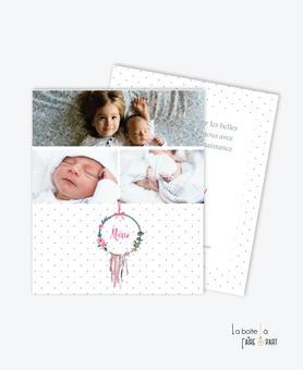 carte de remerciement naissance fille -attrape reves fleuri--fleurs-ruban-noeud-tendance