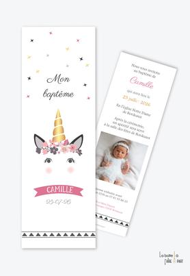 faire part baptême fille-licorne dorée-licorne -fleurs-photo-baptêm civile-baptême religieux-format marque page