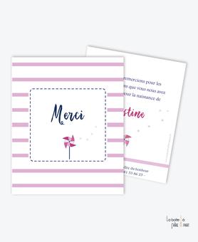 carte de remerciement naissance fille moulin à vent-rayure rose et blanche
