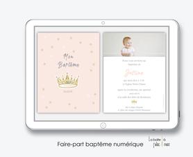 faire part bapteme fille numérique-Faire-part baptême digital-électronique-fichier Pdf-couronne rose-à imprimer soi même