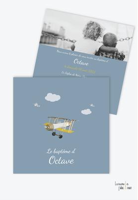 faire part baptême garçon-petit avion-bleu et jaune-vintage-nuage-format carré-petit avion-vintage-oiseaux-ancien