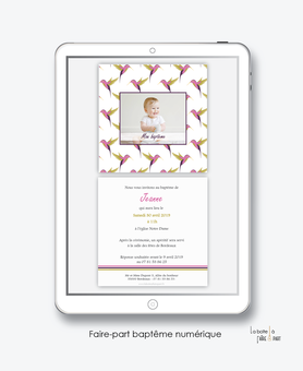 faire part bapteme fille numérique-électronique-fichier Pdf-colibri rose-à imprimer soi même