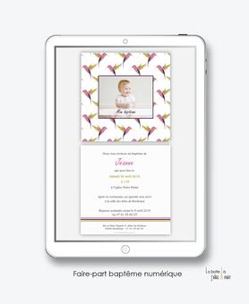 faire part bapteme fille numérique-Faire-part baptême digital-électronique-fichier Pdf-colibri rose-à imprimer soi même