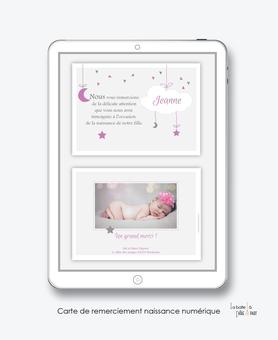 carte de remerciement fille numérique-faire part fille électronique-digital-nuage blanc-à imprimer soi même-carte de remerciement à envoyer par mail, mms et réseau sociaux