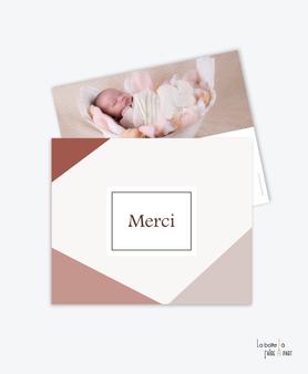 carte de remerciement naissance fille-motifs géométrique-rectangles-couleur terracotta