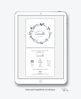 faire-part baptême fille numérique-faire part baptême électronique-faire part numérique-imprimable-pdf numérique-faire part connecté-faire-part à envoyer par mms-à envoyer par mail-réseau sociaux-couronne d'eucalyptus-pictogramme-végétal