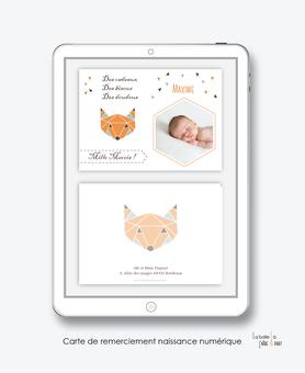 Carte de remerciements naissance garçon numérique-carte de remerciements garçon électronique-fichier Pdf- renard origami-à imprimer soi même-A envoyer via les réseaux sociaux whatsapp-messenger-facebook-mms et mail