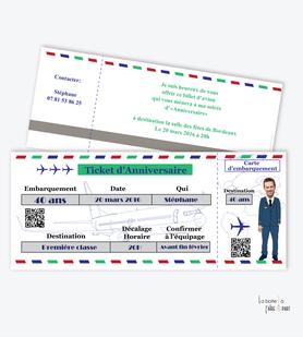 invitation anniversaire homme billet d'avion- steward