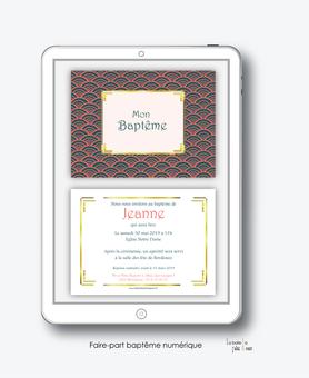 faire-part bapteme fille numérique-électronique-pdf-motif vintage- art deco-retro-faire-part bapteme fille numérique-électronique-pdf-cadre doré-à imprimer soi-même