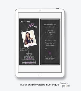 invitation anniversaire femme numérique /électronique -fichier PDF-ardoise polaroid-gateau