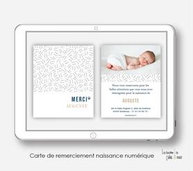 carte de remerciements naissance numérique-carte de remerciement électronique -pdf imprimable-pdf numérique-faire part connecté- Motifs petits traits-à imprimer soi-même-carte de remerciement naissance à envoyer par mail-mms