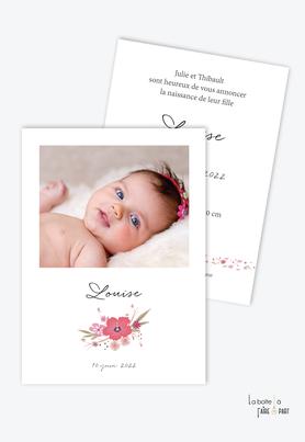 faire-part naissance fille avec bouquet de fleurs champêtre et motif liberty-existe en format plié